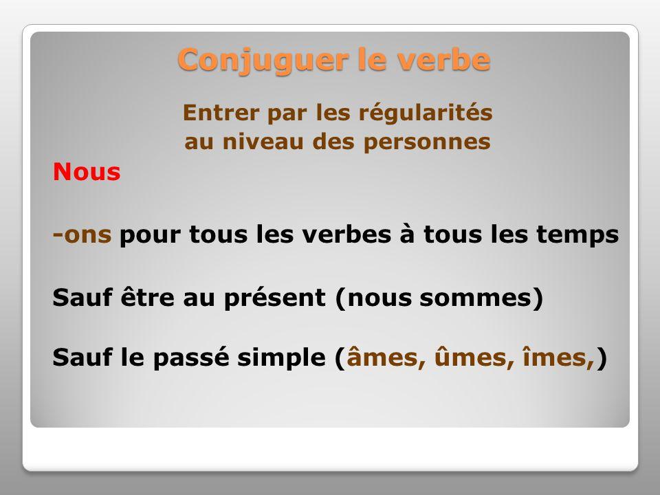 Conjuguer le verbe Entrer par les régularités au niveau des personnes Nous -ons pour tous les verbes à tous les temps Sauf être au présent (nous somme