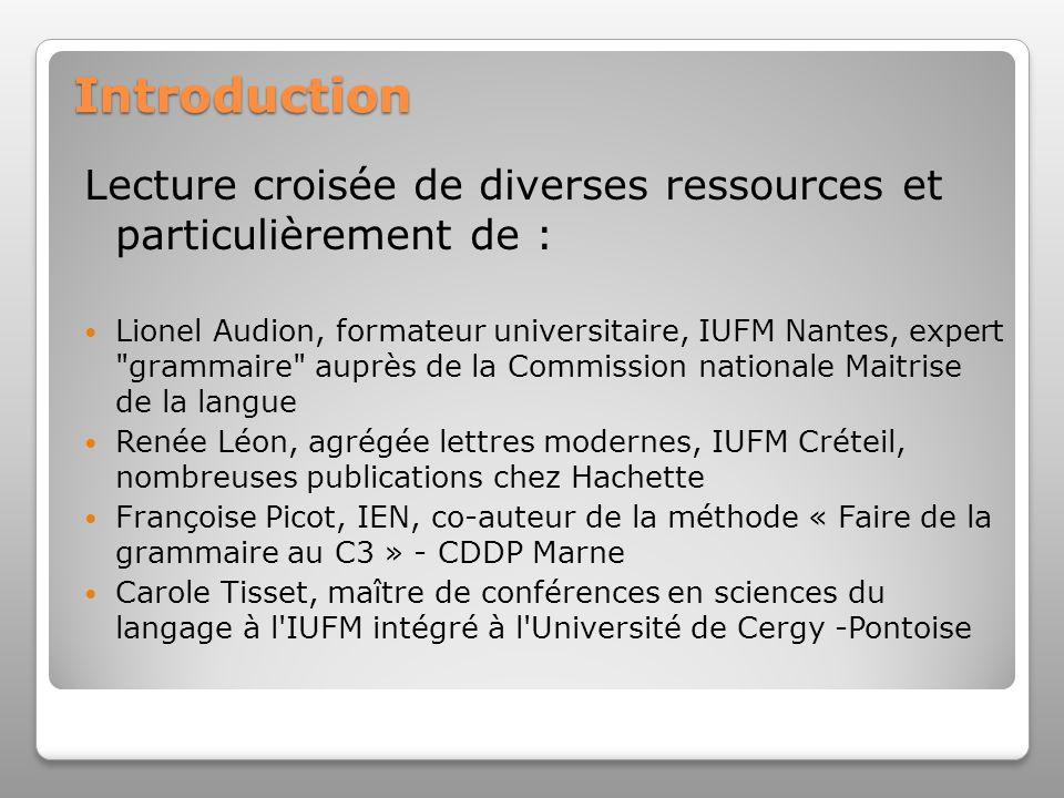 Introduction Lecture croisée de diverses ressources et particulièrement de : Lionel Audion, formateur universitaire, IUFM Nantes, expert