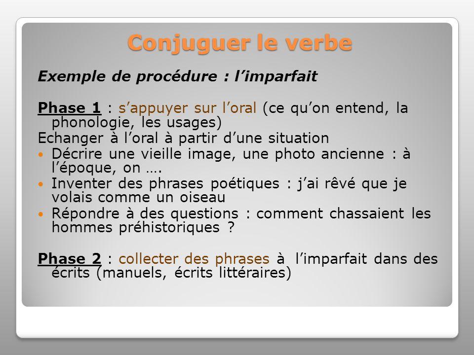 Conjuguer le verbe Exemple de procédure : limparfait Phase 1 : sappuyer sur loral (ce quon entend, la phonologie, les usages) Echanger à loral à parti