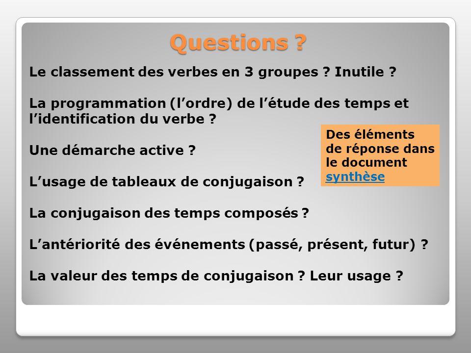 Questions ? Le classement des verbes en 3 groupes ? Inutile ? La programmation (lordre) de létude des temps et lidentification du verbe ? Une démarche