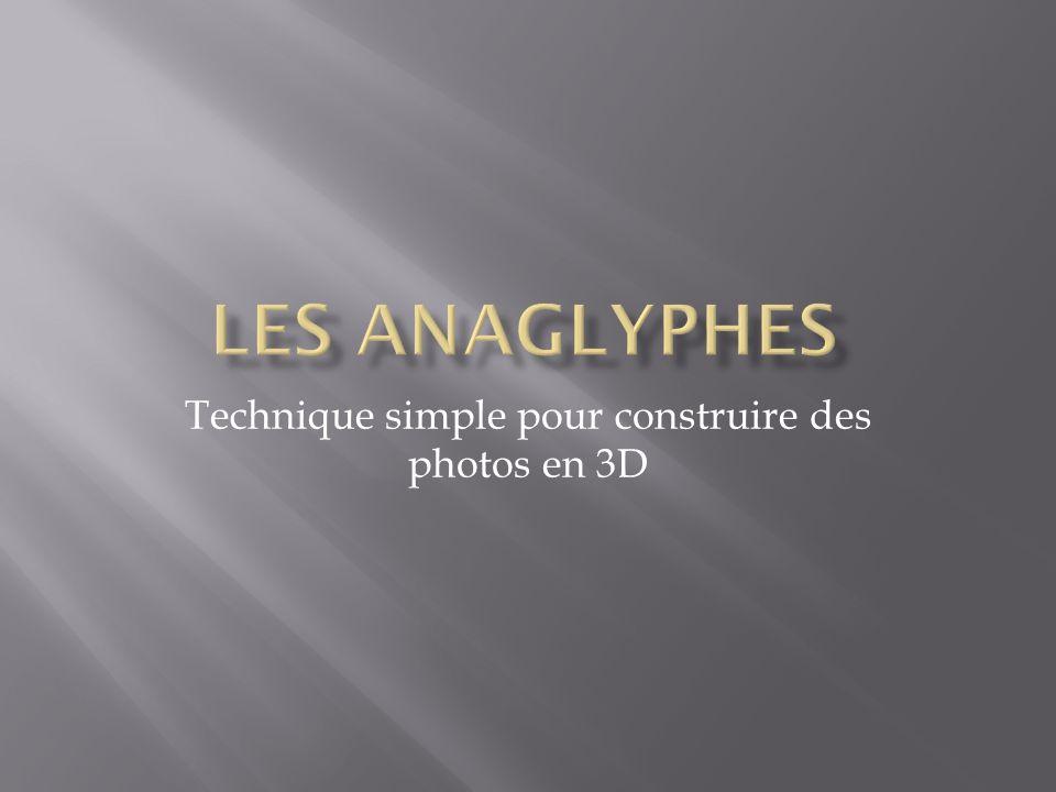 Pour faire une photo en 3 dimensions, il faut prendre deux photos espacées de 6,5 cm: Une photo correspondant à l œil gauche et la deuxième à l œil droit.