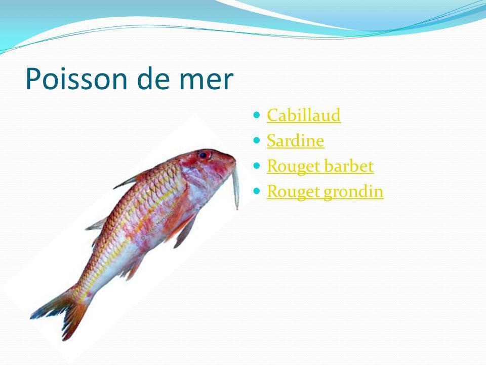 Poisson de mer Cabillaud Sardine Rouget barbet Rouget grondin