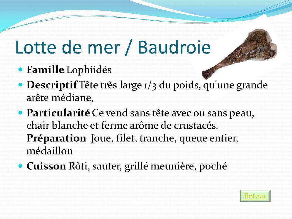 Lotte de mer / Baudroie Famille Lophiidés Descriptif Tête très large 1/3 du poids, qu'une grande arête médiane, Particularité Ce vend sans tête avec o