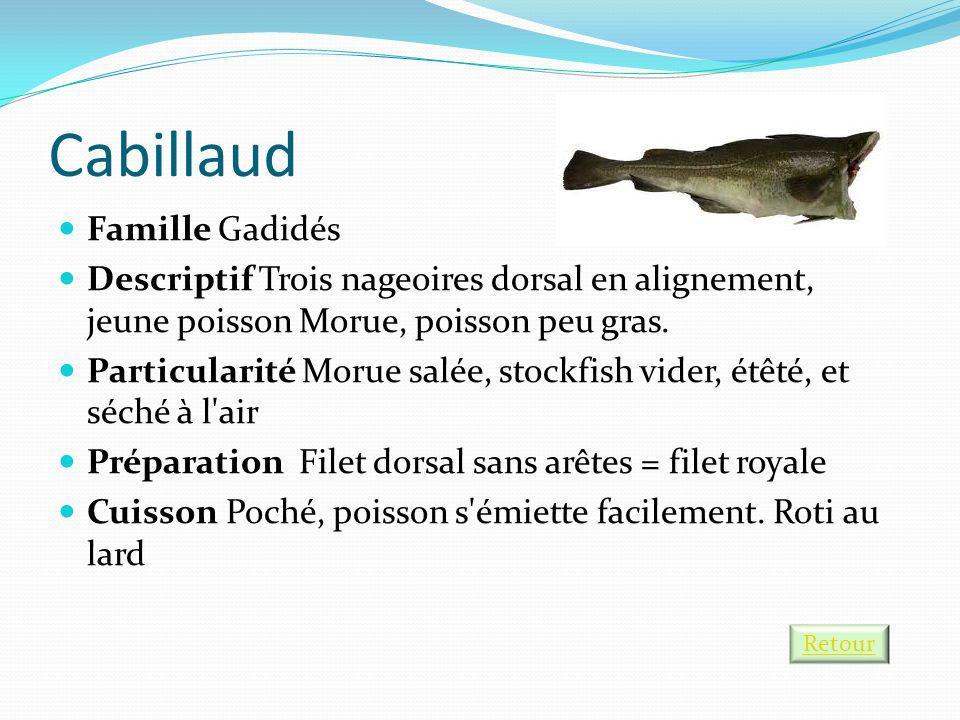 Cabillaud Famille Gadidés Descriptif Trois nageoires dorsal en alignement, jeune poisson Morue, poisson peu gras. Particularité Morue salée, stockfish