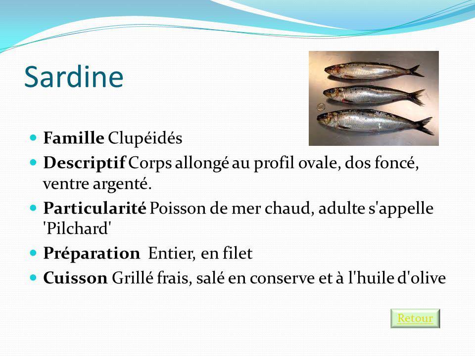 Sardine Famille Clupéidés Descriptif Corps allongé au profil ovale, dos foncé, ventre argenté. Particularité Poisson de mer chaud, adulte s'appelle 'P