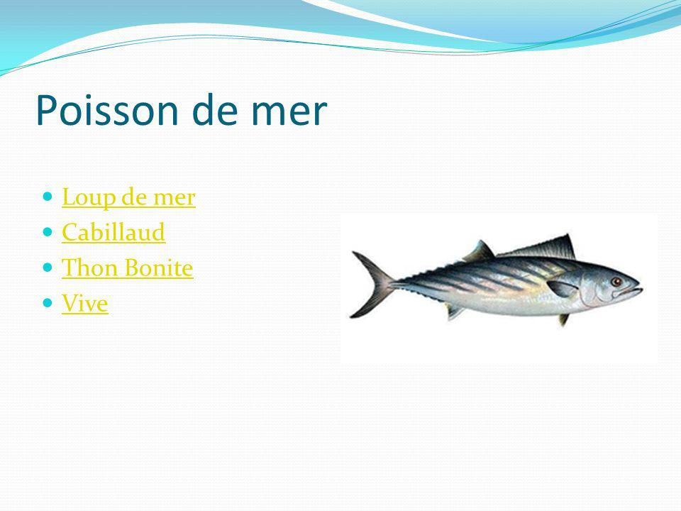 Poisson de mer Stockfish Cabillaud Thon rouge Percidés