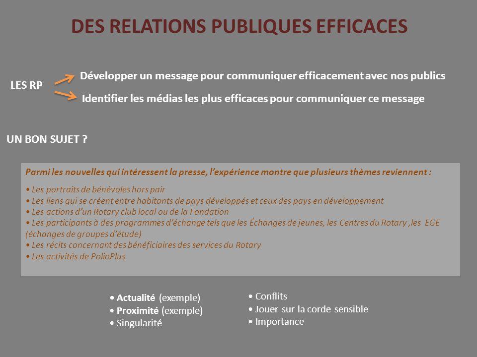 DES RELATIONS PUBLIQUES EFFICACES LES RP UN BON SUJET .