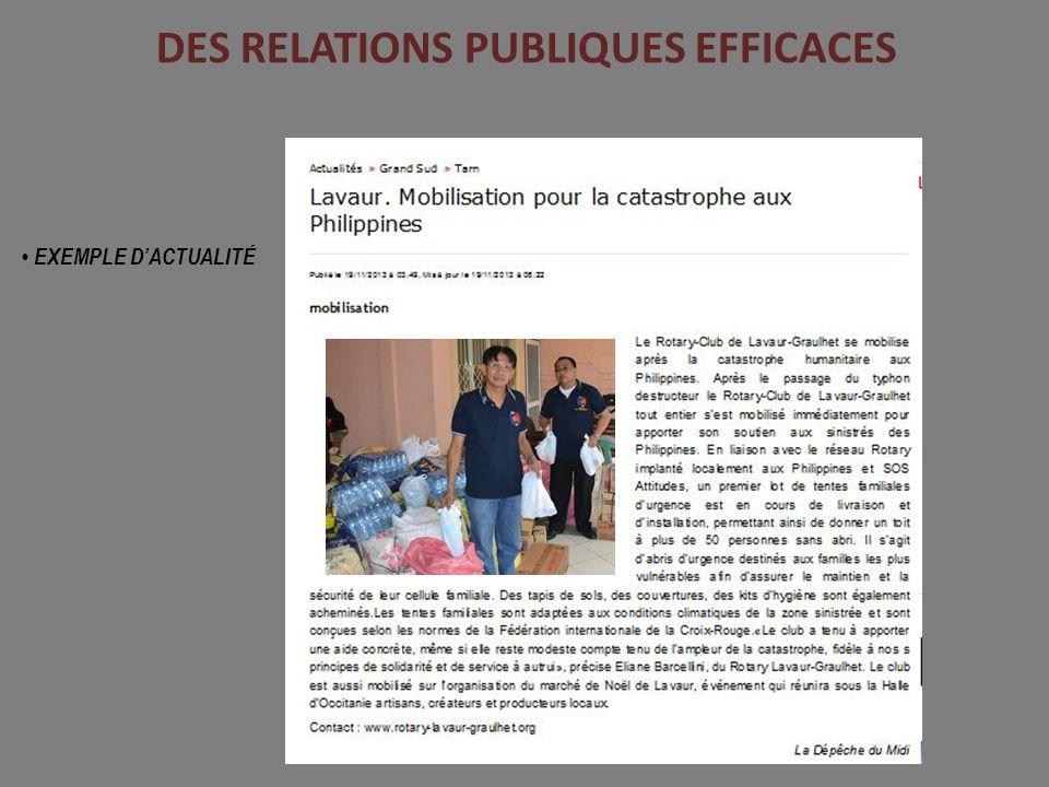 DES RELATIONS PUBLIQUES EFFICACES EXEMPLE DACTUALITÉ