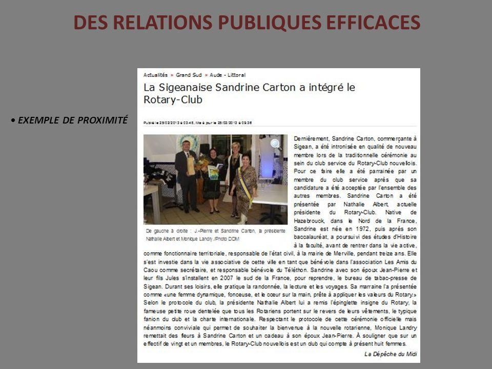 DES RELATIONS PUBLIQUES EFFICACES EXEMPLE DE PROXIMITÉ