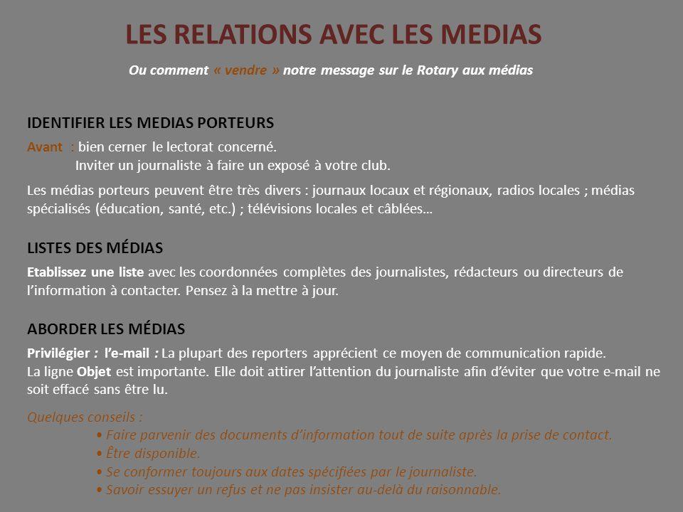 LES RELATIONS AVEC LES MEDIAS Ou comment « vendre » notre message sur le Rotary aux médias IDENTIFIER LES MEDIAS PORTEURS Avant : bien cerner le lectorat concerné.