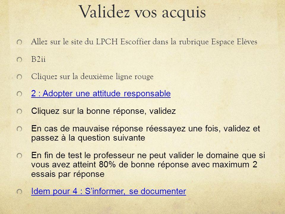 Validez vos acquis Allez sur le site du LPCH Escoffier dans la rubrique Espace Elèves B2ii Cliquez sur la deuxième ligne rouge 2 : Adopter une attitud