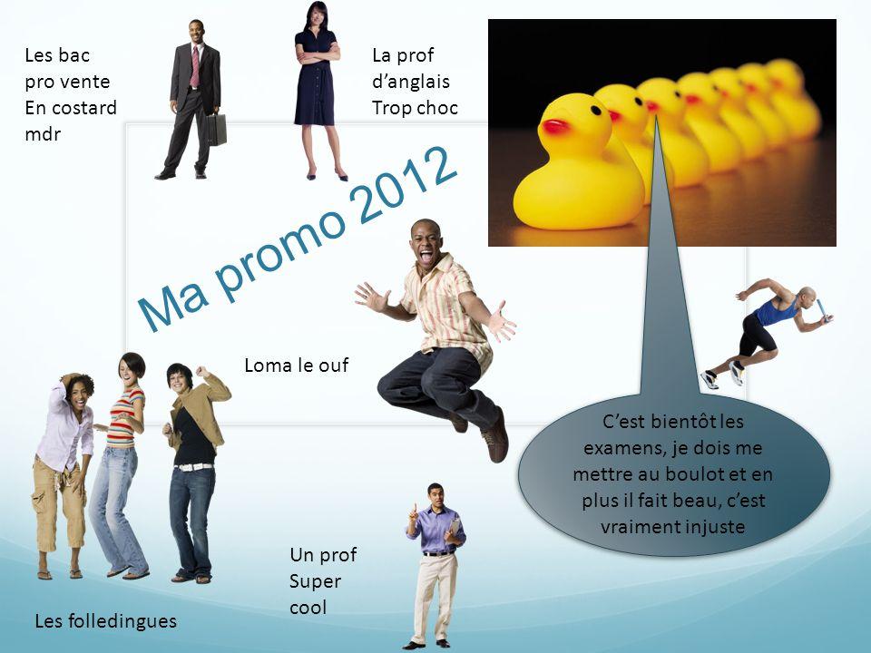 Ma promo 2012 Cest bientôt les examens, je dois me mettre au boulot et en plus il fait beau, cest vraiment injuste Les folledingues Les bac pro vente