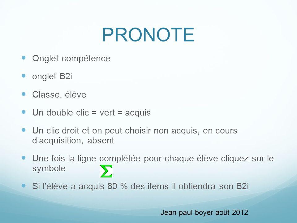 PRONOTE Onglet compétence onglet B2i Classe, élève Un double clic = vert = acquis Un clic droit et on peut choisir non acquis, en cours dacquisition,