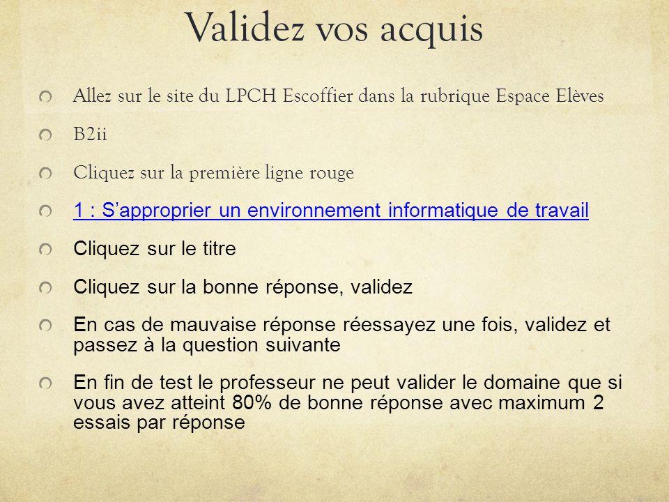 Validez vos acquis Allez sur le site du LPCH Escoffier dans la rubrique Espace Elèves B2ii Cliquez sur la première ligne rouge 1 : Sapproprier un envi