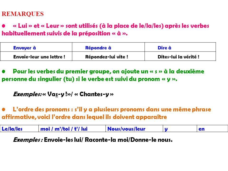 REMARQUES « Lui » et « Leur » sont utilisés (à la place de le/la/les) après les verbes habituellement suivis de la préposition « à ». Pour les verbes