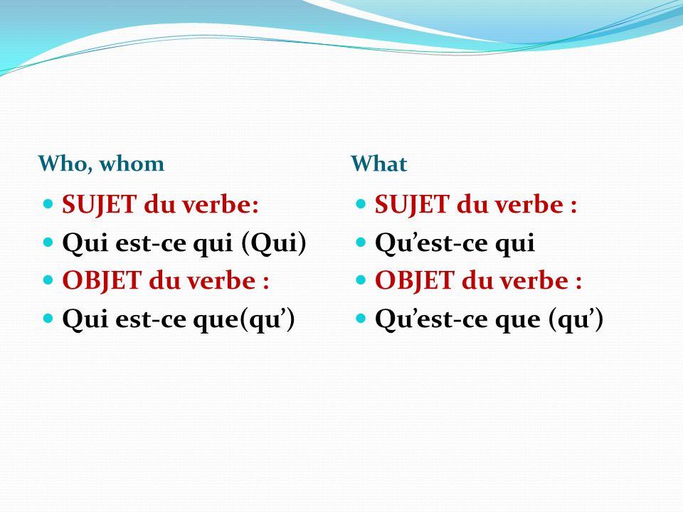 Who, whom What SUJET du verbe: Qui est-ce qui (Qui) OBJET du verbe : Qui est-ce que(qu) SUJET du verbe : Quest-ce qui OBJET du verbe : Quest-ce que (qu)
