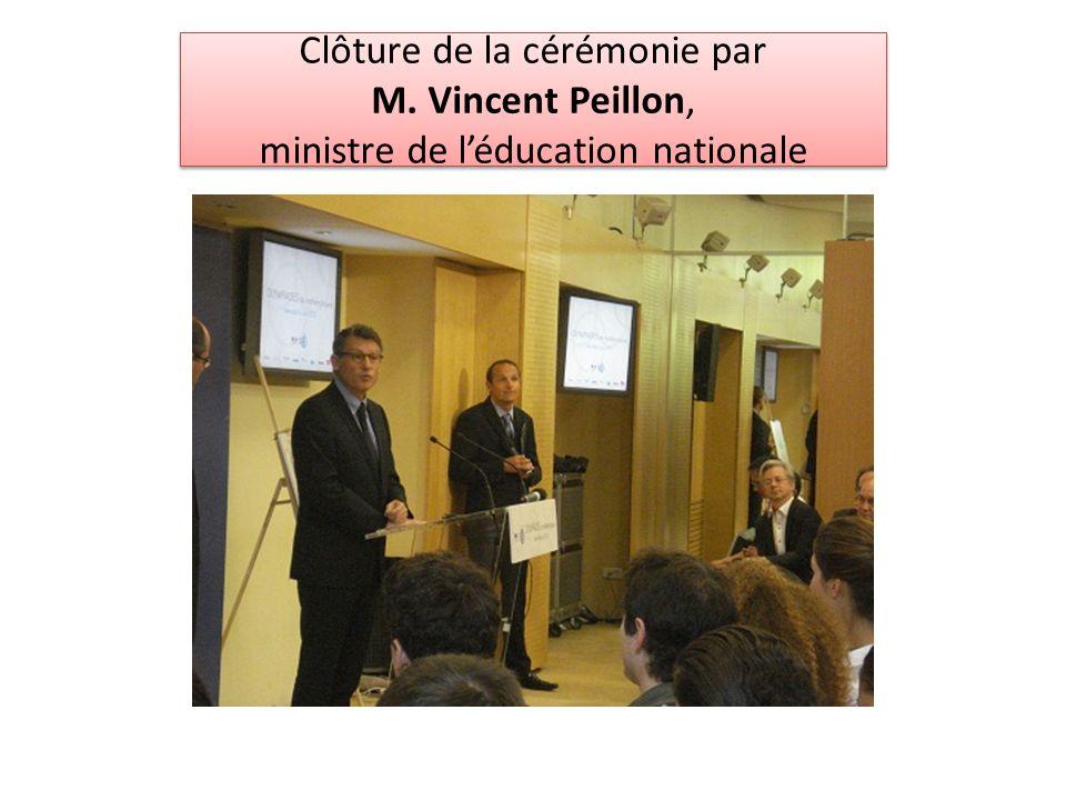 Clôture de la cérémonie par M. Vincent Peillon, ministre de léducation nationale