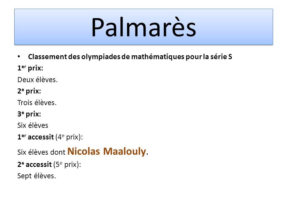 Palmarès Classement des olympiades de mathématiques pour la série S 1 er prix: Deux élèves. 2 e prix: Trois élèves. 3 e prix: Six élèves 1 er accessit