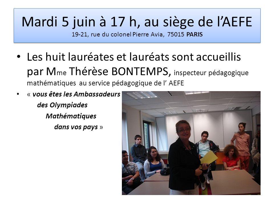Mardi 5 juin à 17 h, au siège de lAEFE 19-21, rue du colonel Pierre Avia, 75015 PARIS Les huit lauréates et lauréats sont accueillis par M me Thérèse
