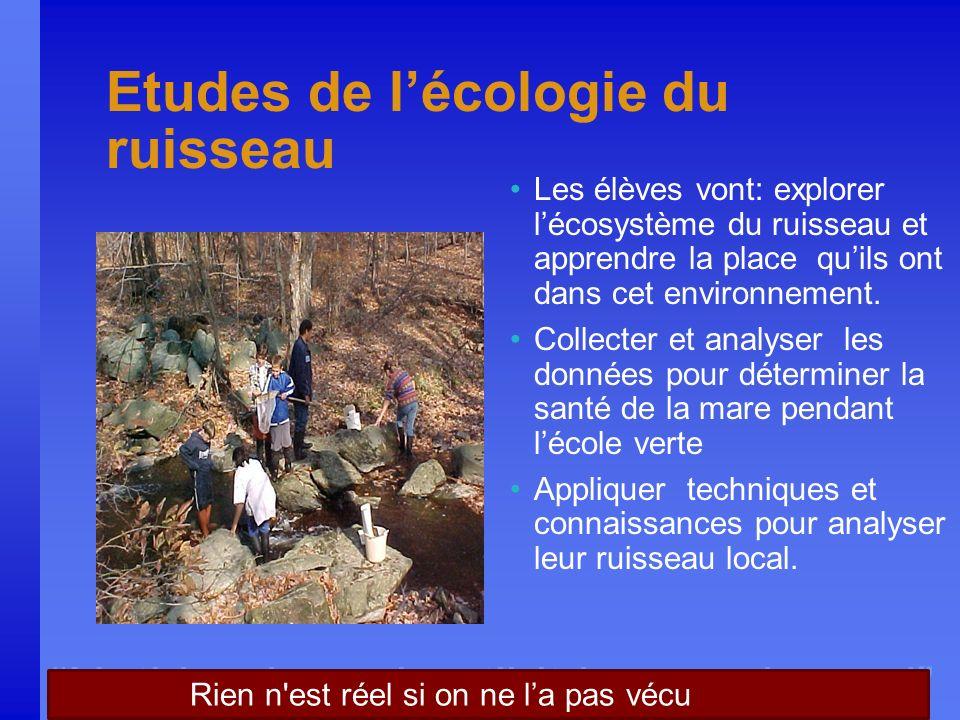 Nothing is real until it is experienced Etudes de lécologie du ruisseau Les élèves vont: explorer lécosystème du ruisseau et apprendre la place quils ont dans cet environnement.