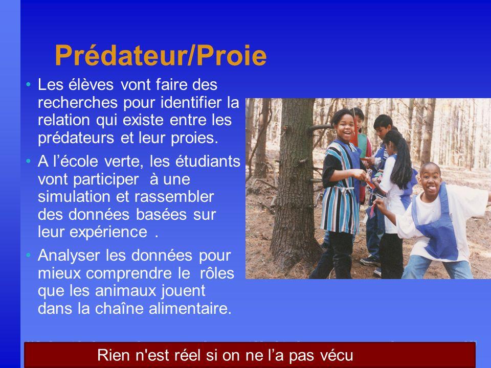 Nothing is real until it is experienced Prédateur/Proie Les élèves vont faire des recherches pour identifier la relation qui existe entre les prédateu