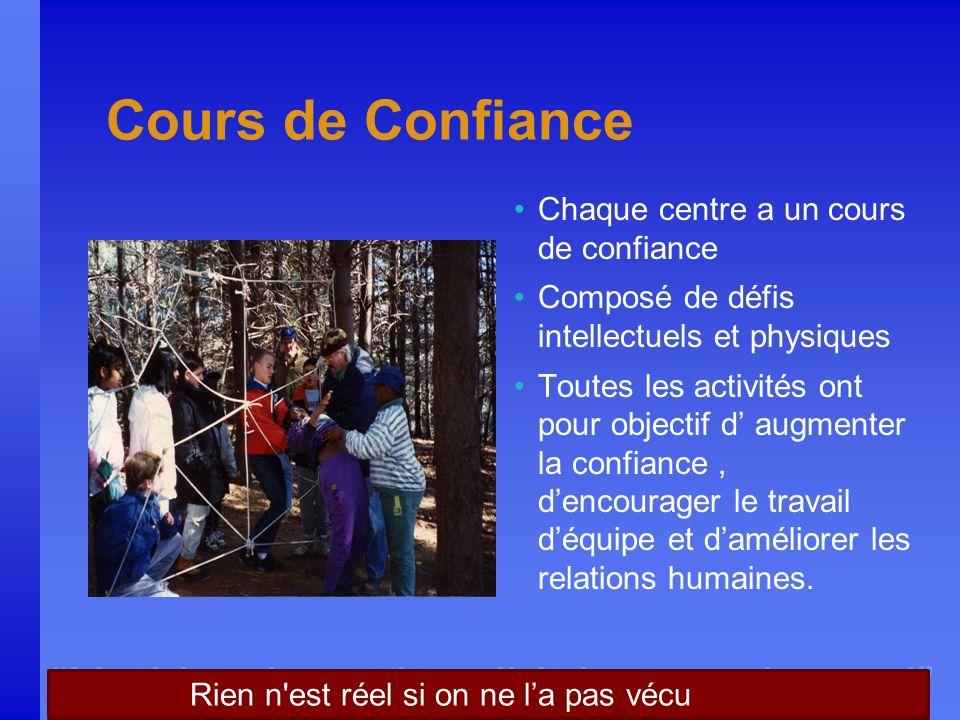 Nothing is real until it is experienced Cours de Confiance Chaque centre a un cours de confiance Composé de défis intellectuels et physiques Toutes le