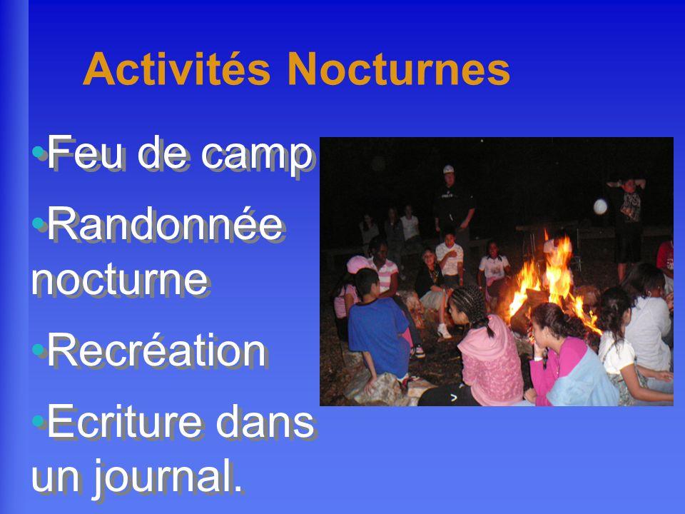 Activités Nocturnes Feu de camp Randonnée nocturne Recréation Ecriture dans un journal. Feu de camp Randonnée nocturne Recréation Ecriture dans un jou
