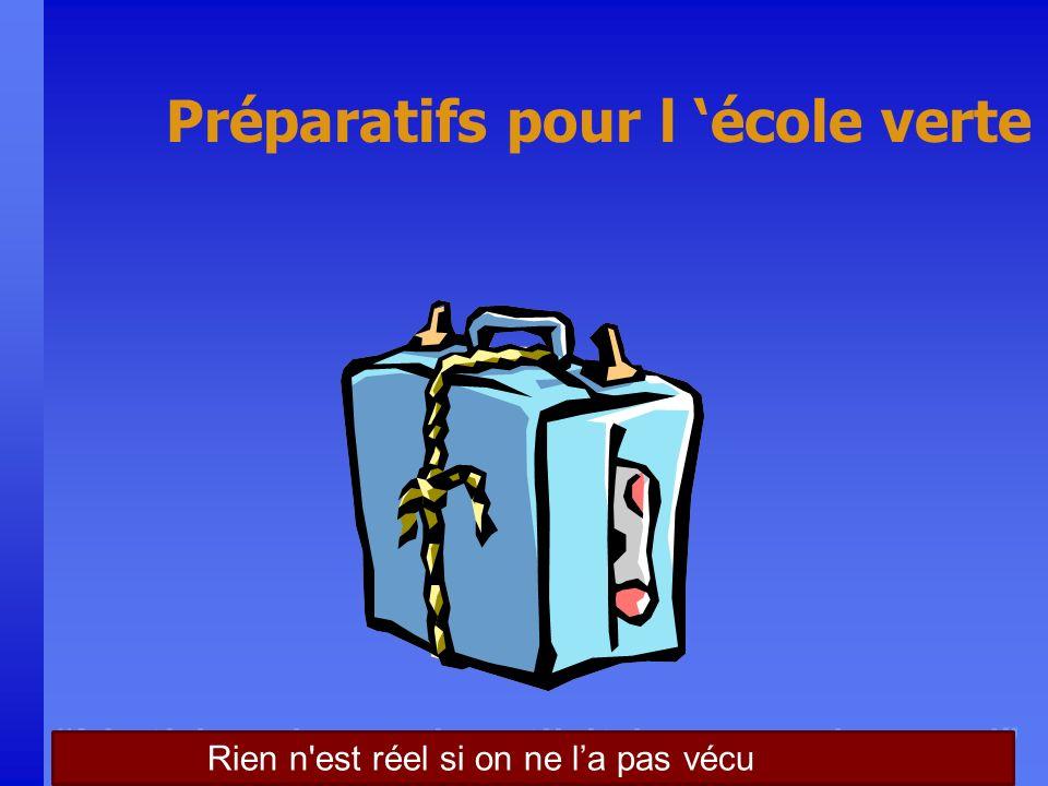 Nothing is real until it is experienced Préparatifs pour l école verte Rien n est réel si on ne la pas vécu