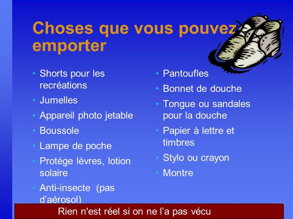 Nothing is real until it is experienced Choses que vous pouvez emporter Shorts pour les recréations Jumelles Appareil photo jetable Boussole Lampe de
