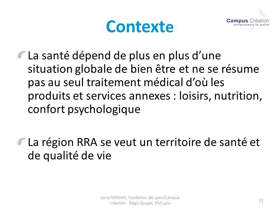 soria MEKIKA, Fondation de Lyon/Campus création - Régis Goujet, EM Lyon 11 Context e La santé dépend de plus en plus dune situation globale de bien êt