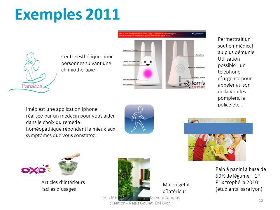 soria MEKIKA, Fondation de Lyon/Campus création - Régis Goujet, EM Lyon 12 Exemples 2011 Iméo est une application Iphone réalisée par un médecin pour