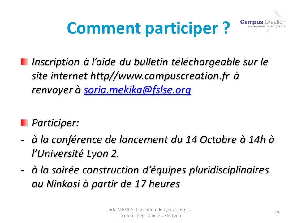 soria MEKIKA, Fondation de Lyon/Campus création - Régis Goujet, EM Lyon 15 Comment participer ? Inscription à laide du bulletin téléchargeable sur le