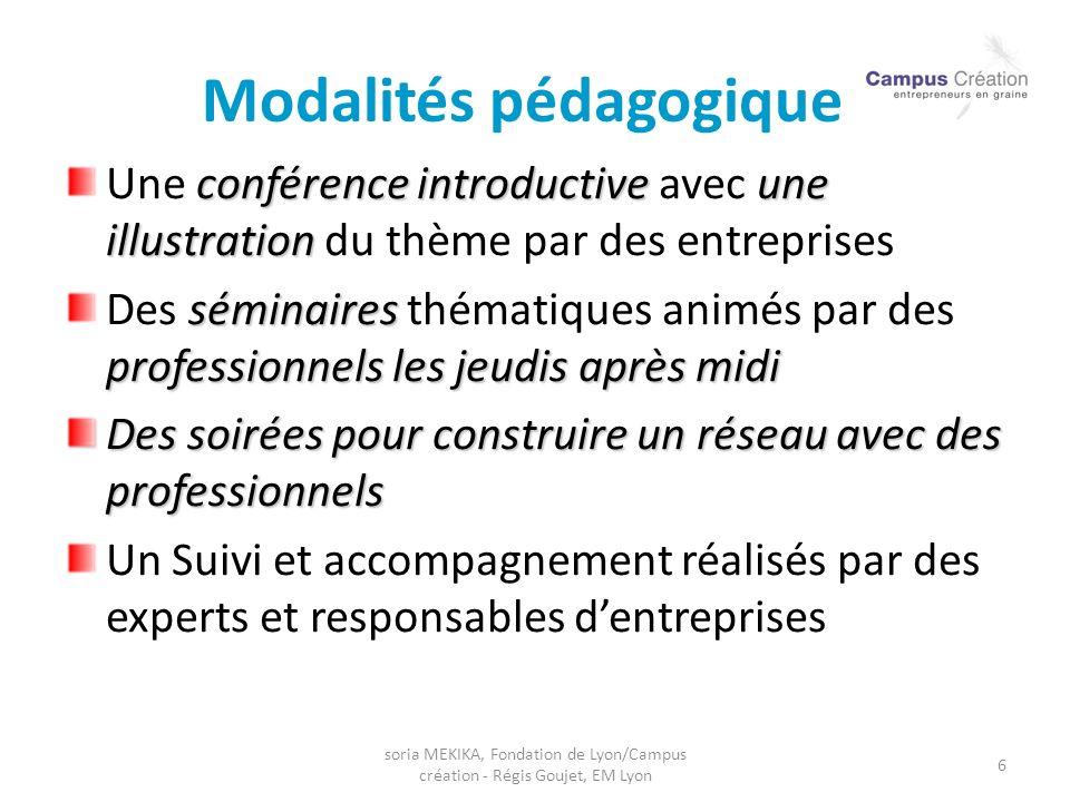 soria MEKIKA, Fondation de Lyon/Campus création - Régis Goujet, EM Lyon 6 Modalités pédagogiques conférence introductiveune illustration Une conférenc