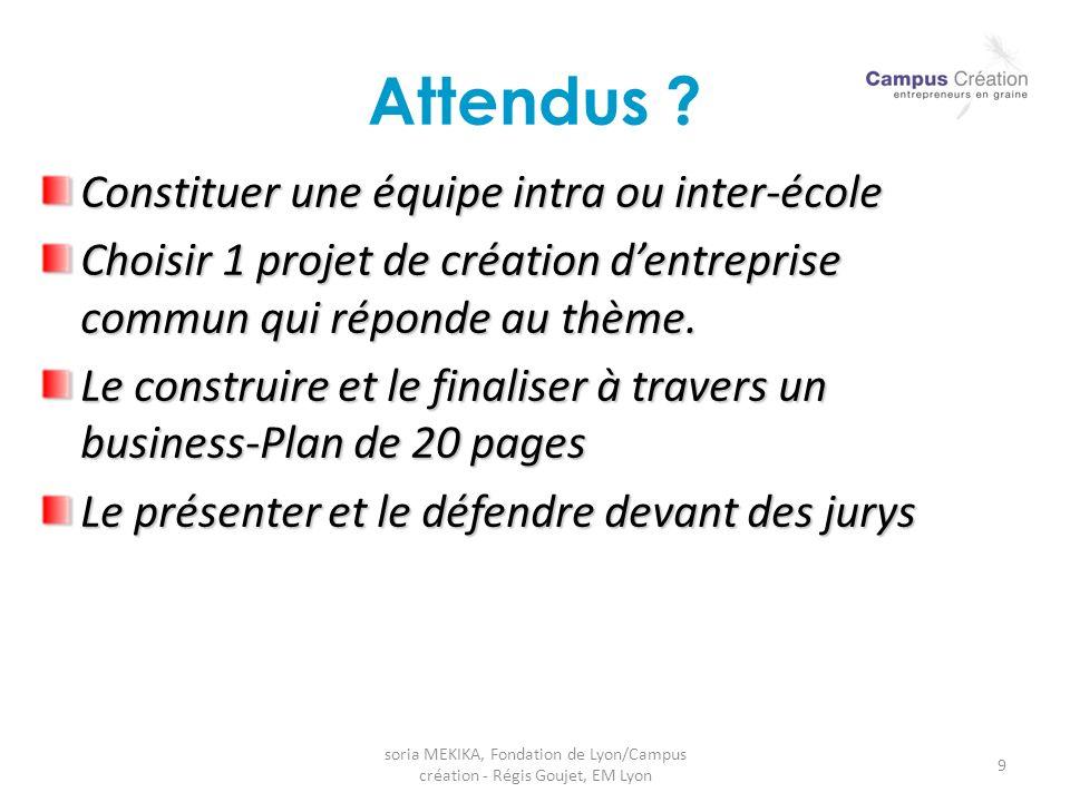 soria MEKIKA, Fondation de Lyon/Campus création - Régis Goujet, EM Lyon 9 Attendus ? Constituer une équipe intra ou inter-école Choisir 1 projet de cr