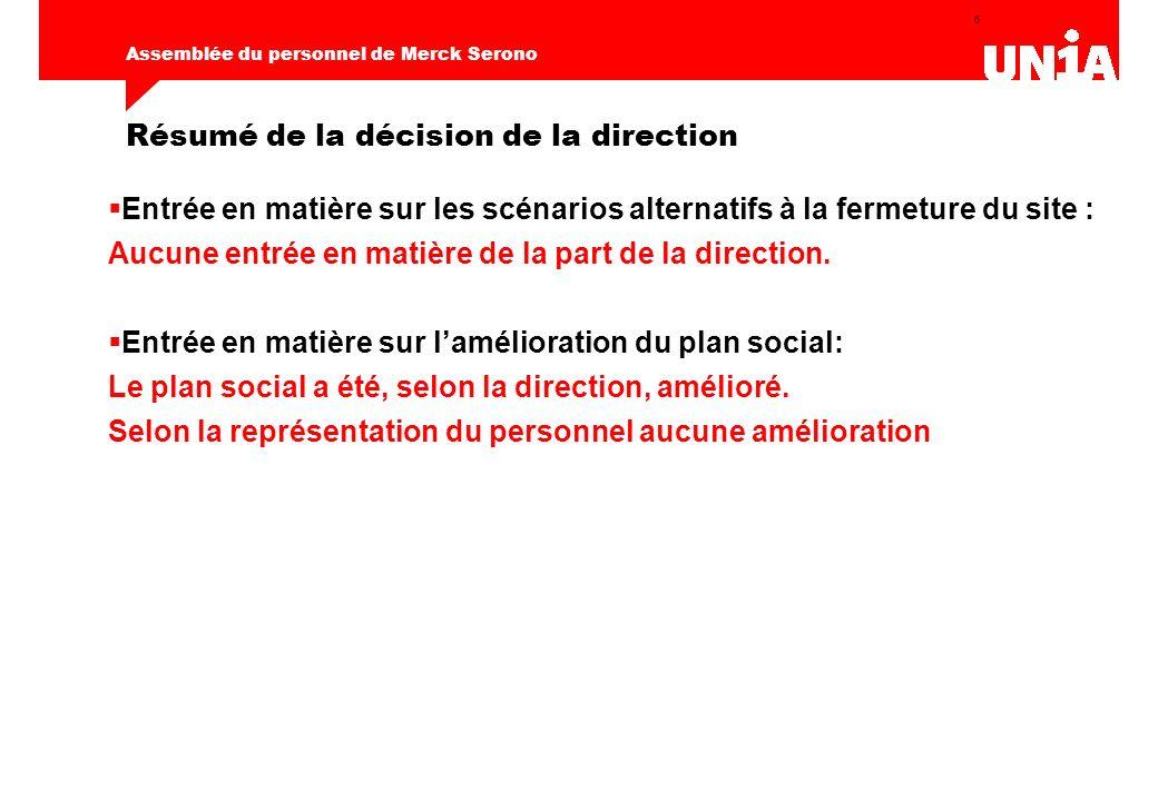 6 Résumé de la décision de la direction Entrée en matière sur les scénarios alternatifs à la fermeture du site : Aucune entrée en matière de la part de la direction.