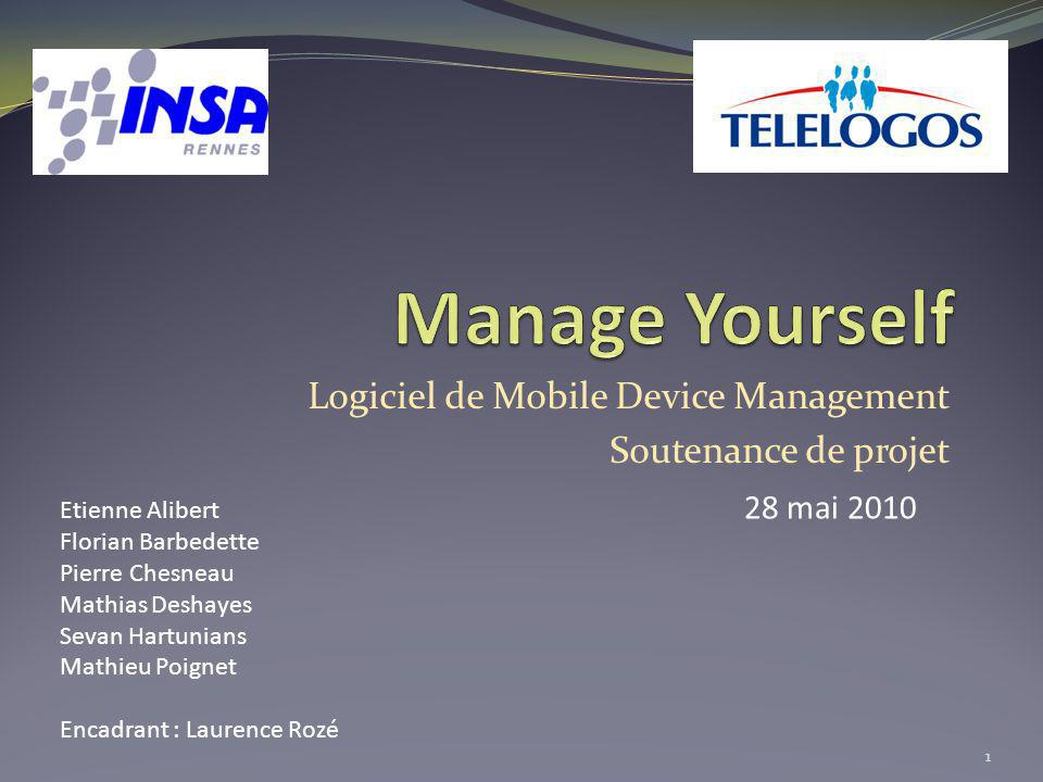 Logiciel de Mobile Device Management Soutenance de projet 1 Etienne Alibert Florian Barbedette Pierre Chesneau Mathias Deshayes Sevan Hartunians Mathi