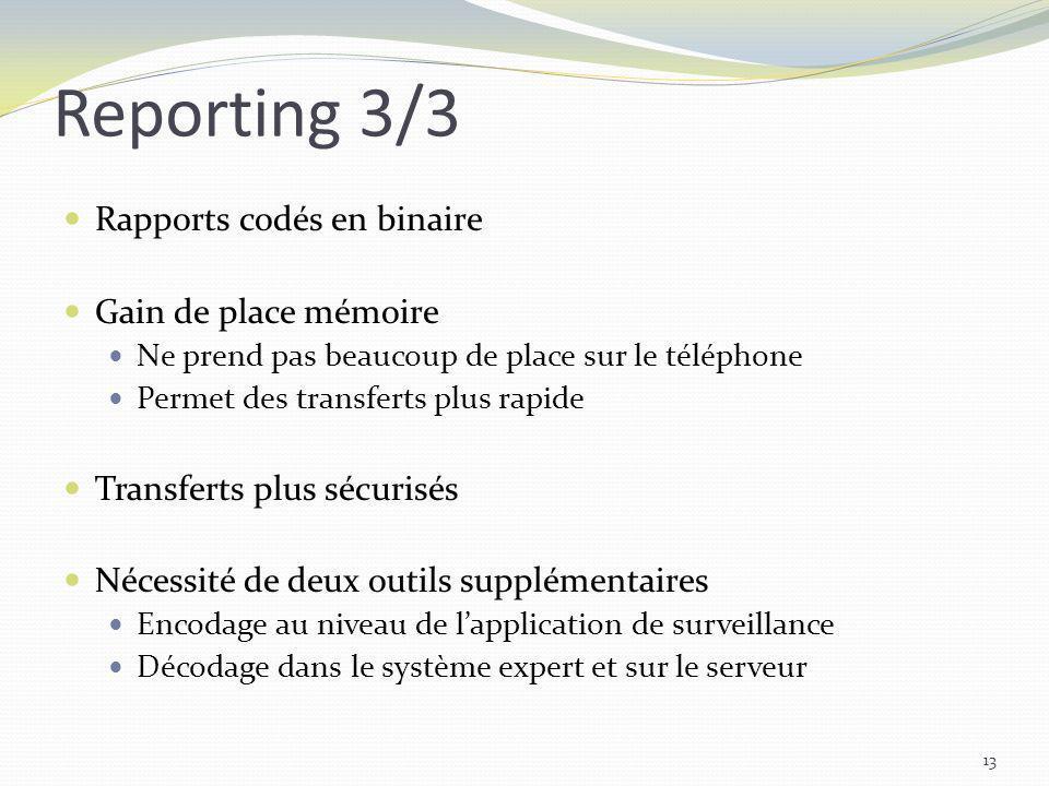 Reporting 3/3 Rapports codés en binaire Gain de place mémoire Ne prend pas beaucoup de place sur le téléphone Permet des transferts plus rapide Transf