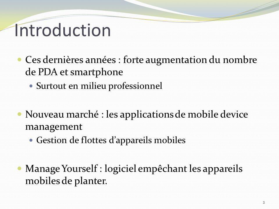 Introduction Ces dernières années : forte augmentation du nombre de PDA et smartphone Surtout en milieu professionnel Nouveau marché : les application