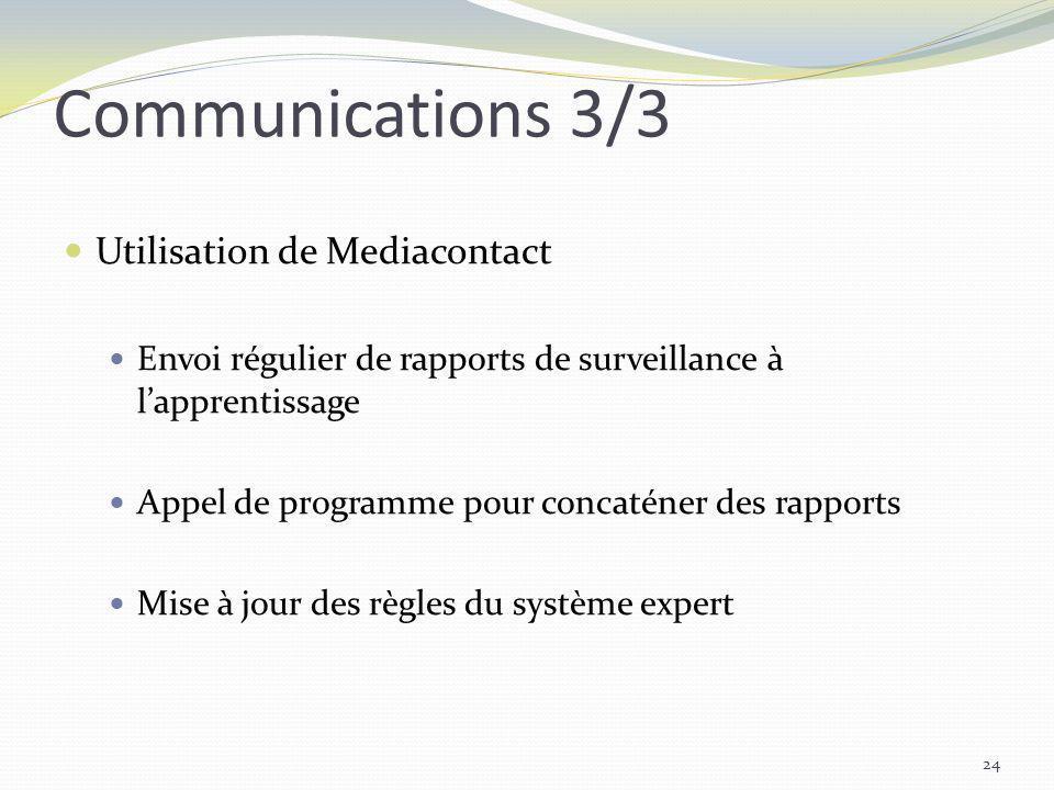 Communications 3/3 Utilisation de Mediacontact Envoi régulier de rapports de surveillance à lapprentissage Appel de programme pour concaténer des rapp
