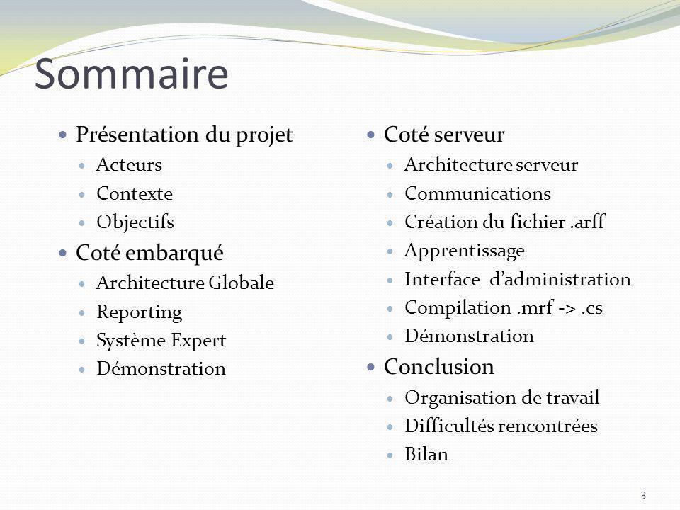 Sommaire Présentation du projet Acteurs Contexte Objectifs Coté embarqué Architecture Globale Reporting Système Expert Démonstration 3 Coté serveur Ar