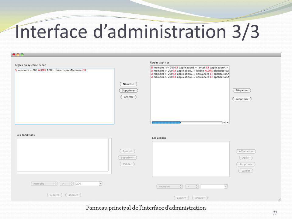 Interface dadministration 3/3 33 Panneau principal de linterface dadministration