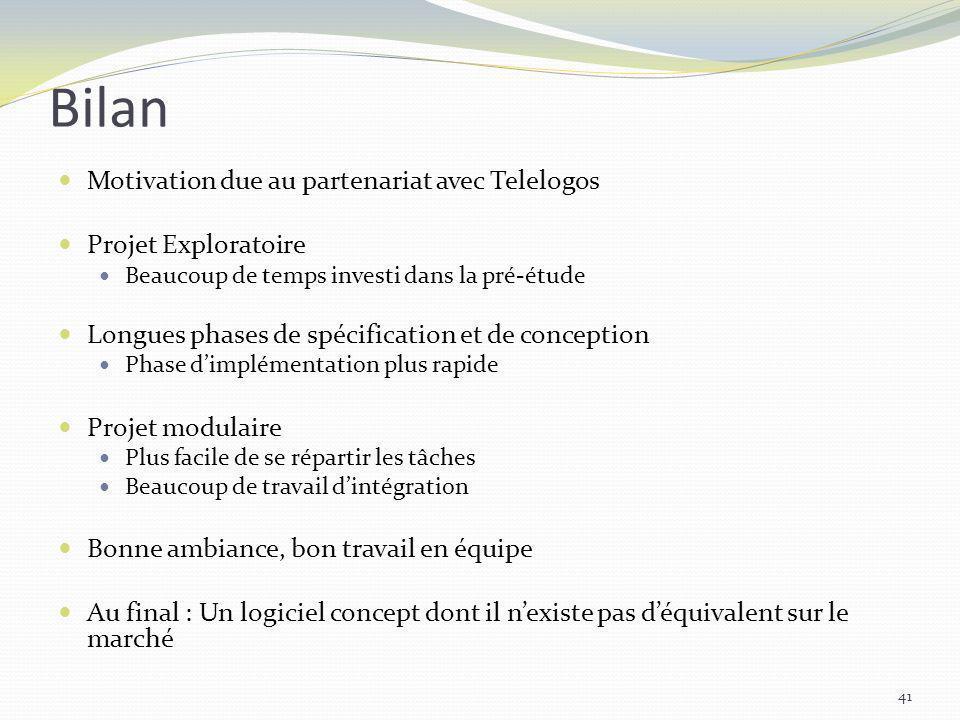 Bilan Motivation due au partenariat avec Telelogos Projet Exploratoire Beaucoup de temps investi dans la pré-étude Longues phases de spécification et