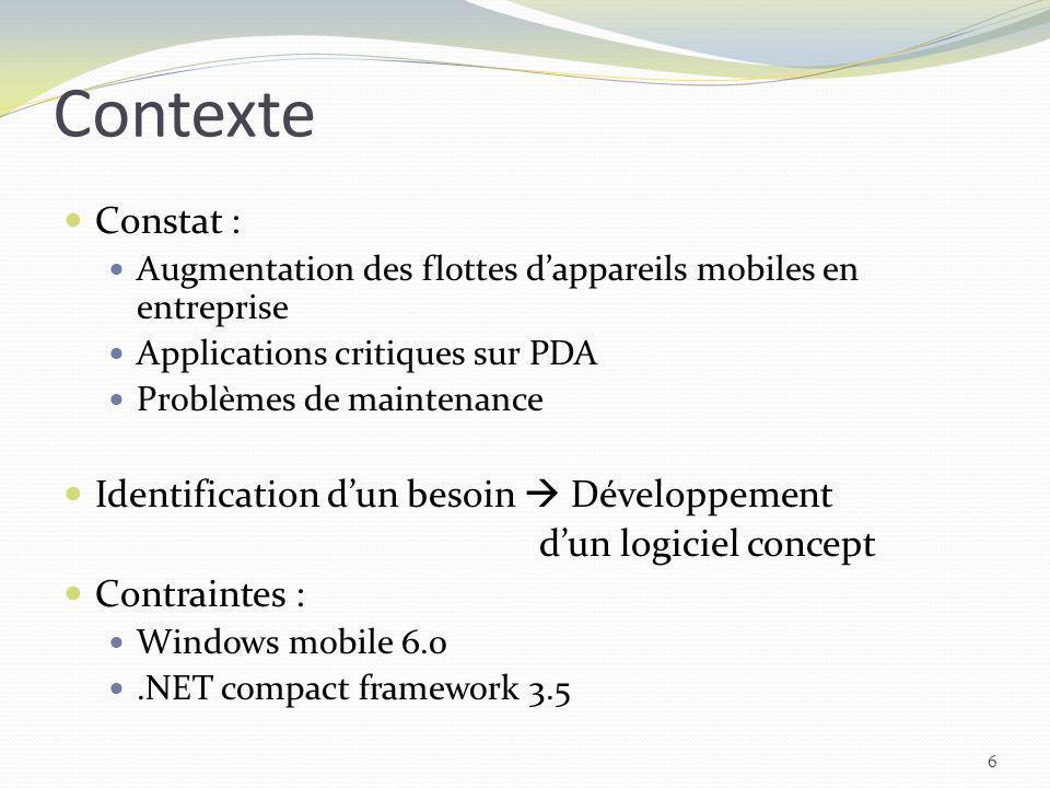 Contexte 6 Constat : Augmentation des flottes dappareils mobiles en entreprise Applications critiques sur PDA Problèmes de maintenance Identification
