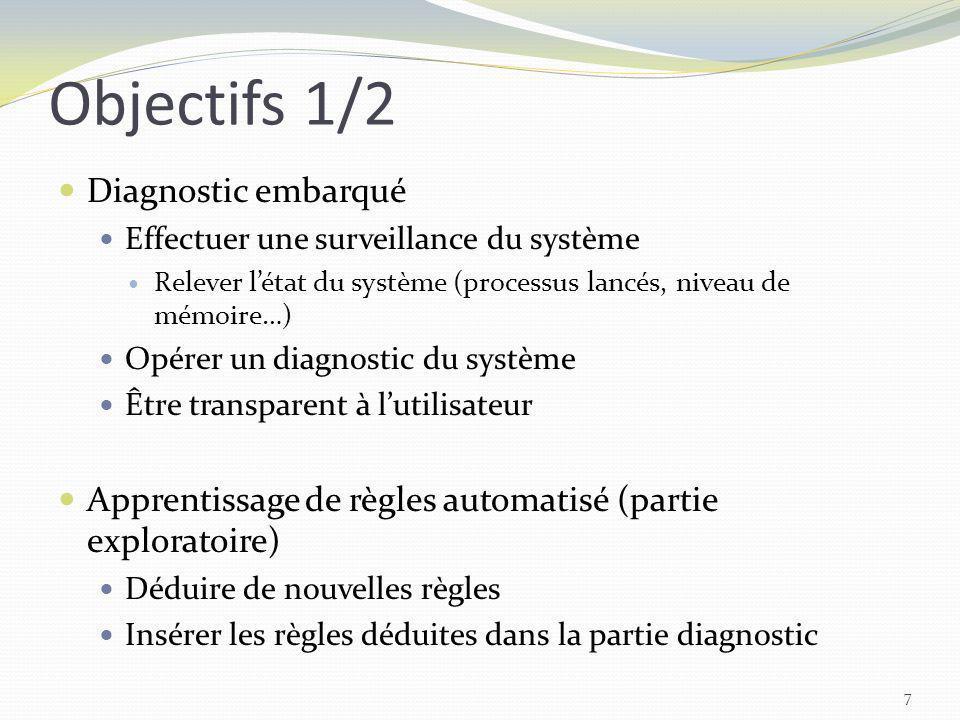 Objectifs 1/2 7 Diagnostic embarqué Effectuer une surveillance du système Relever létat du système (processus lancés, niveau de mémoire…) Opérer un di