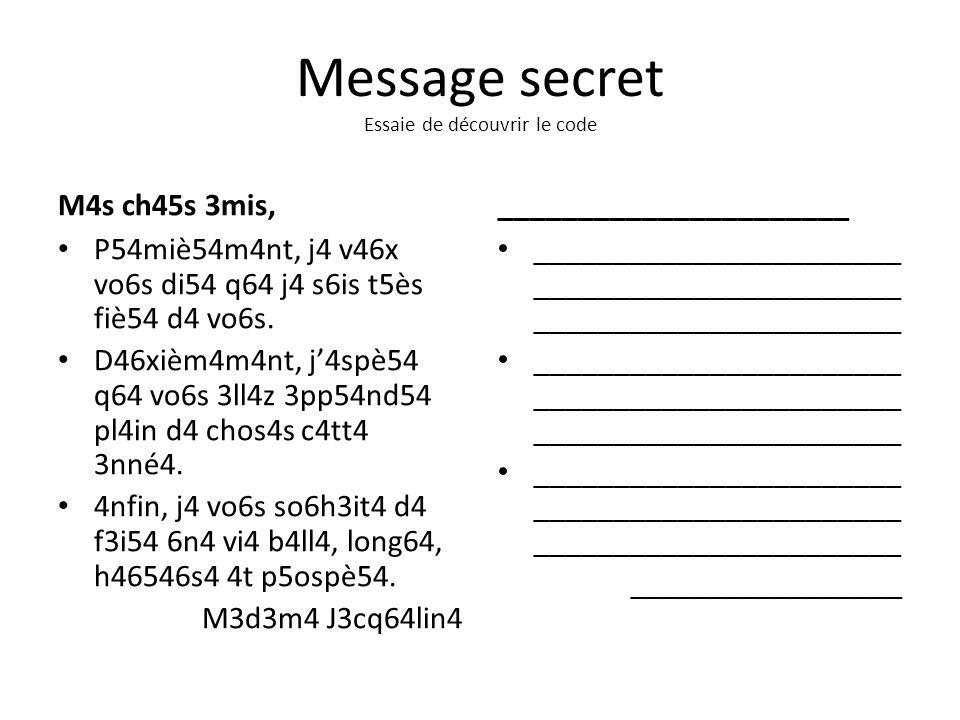 Message secret Essaie de découvrir le code M4s ch45s 3mis, P54miè54m4nt, j4 v46x vo6s di54 q64 j4 s6is t5ès fiè54 d4 vo6s. D46xièm4m4nt, j4spè54 q64 v