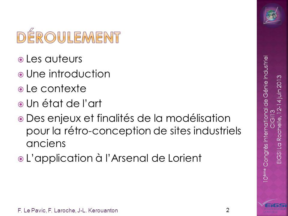 10 ème Congrès International de Génie Industriel CIGI13 EIGSI La Rochelle, 12-14 juin 2013 Les auteurs Une introduction Le contexte Un état de lart De