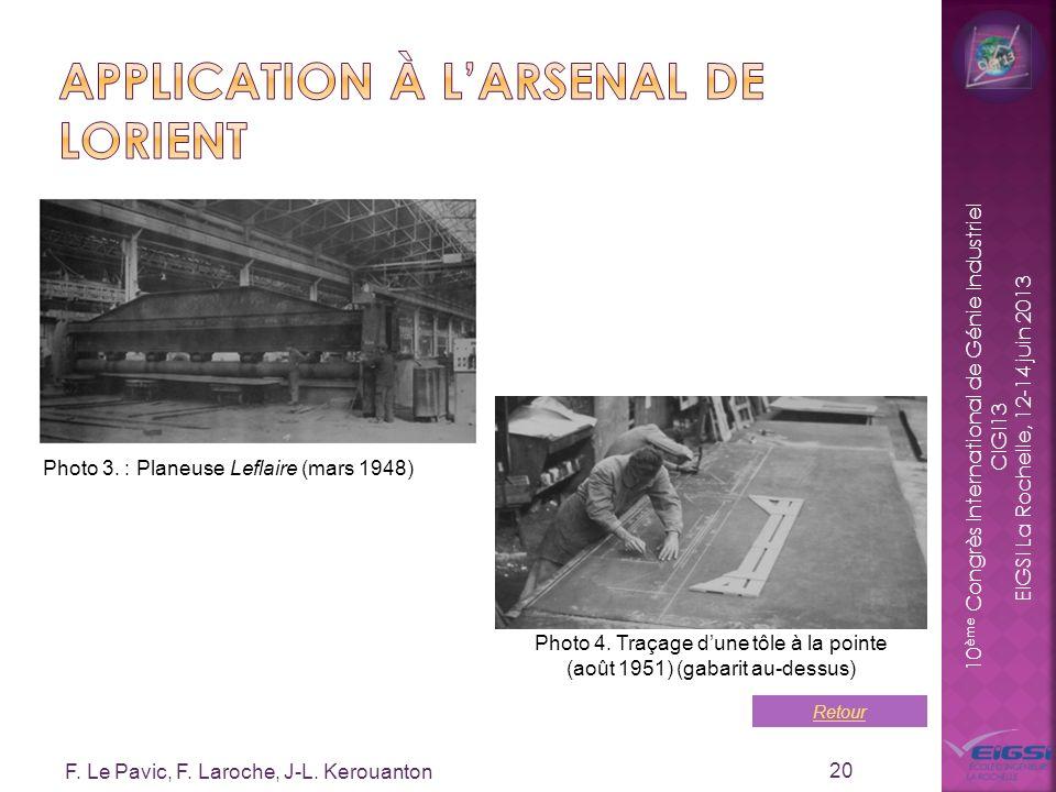 10 ème Congrès International de Génie Industriel CIGI13 EIGSI La Rochelle, 12-14 juin 2013 F. Le Pavic, F. Laroche, J-L. Kerouanton 20 Photo 4. Traçag