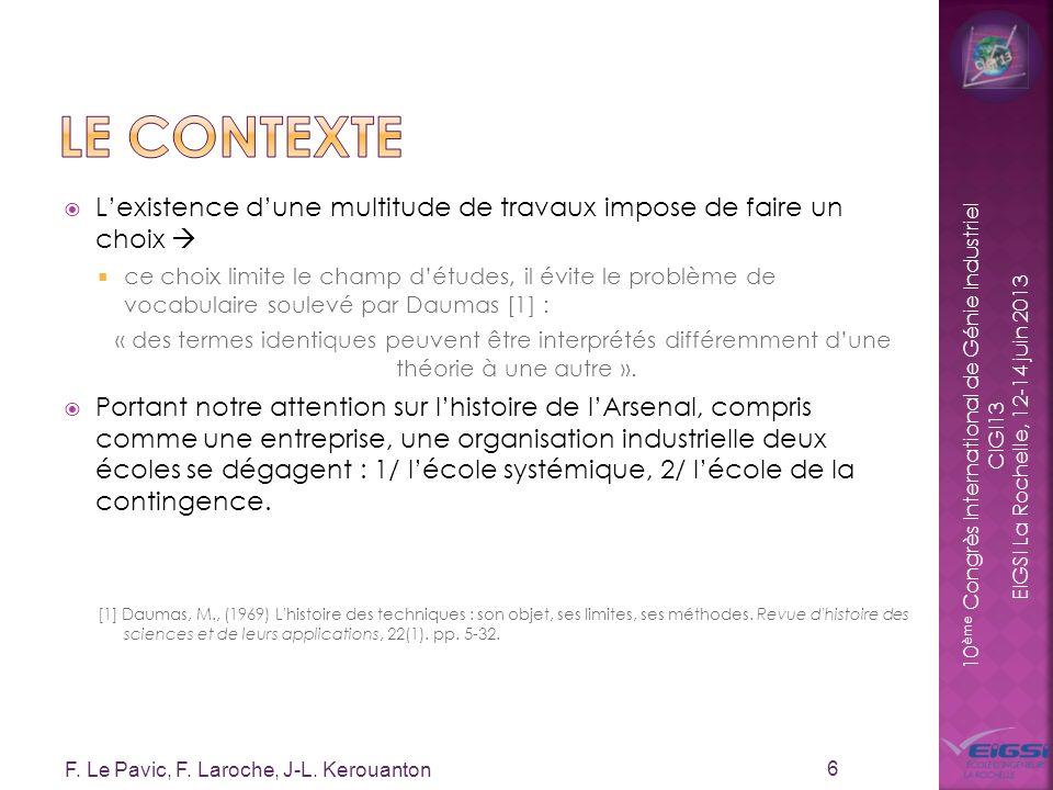 10 ème Congrès International de Génie Industriel CIGI13 EIGSI La Rochelle, 12-14 juin 2013 Lexistence dune multitude de travaux impose de faire un cho