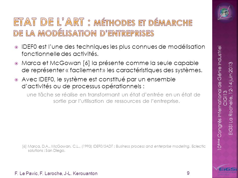 10 ème Congrès International de Génie Industriel CIGI13 EIGSI La Rochelle, 12-14 juin 2013 IDEF0 est lune des techniques les plus connues de modélisat