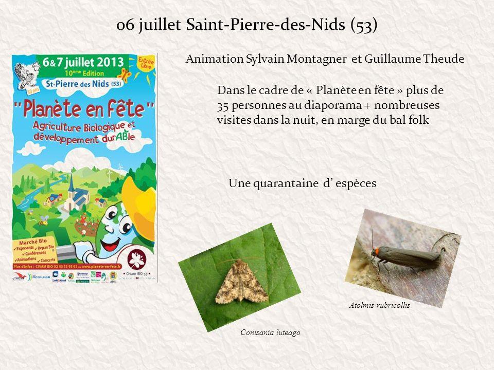 06 juillet Saint-Pierre-des-Nids (53) Dans le cadre de « Planète en fête » plus de 35 personnes au diaporama + nombreuses visites dans la nuit, en mar
